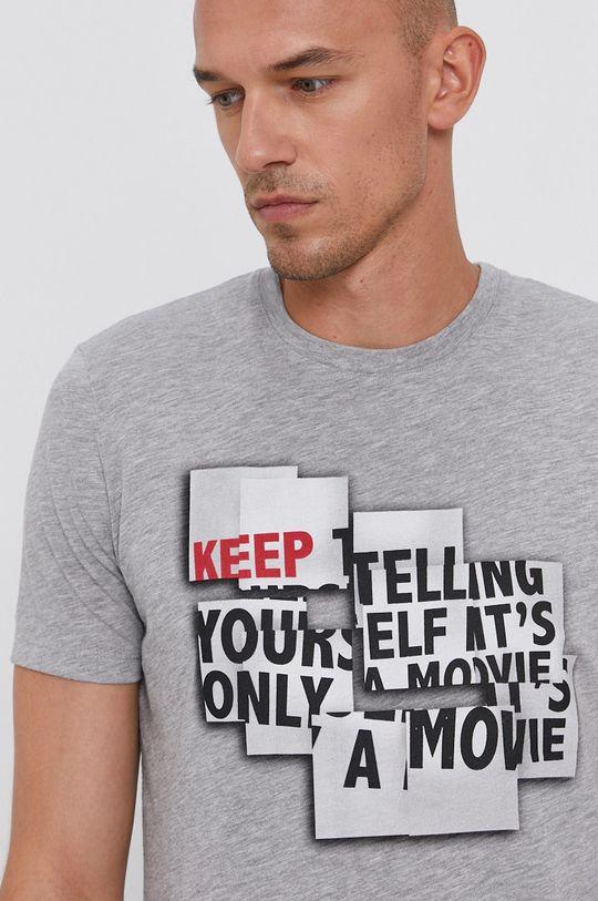 szary Sisley - T-shirt bawełniany Męski