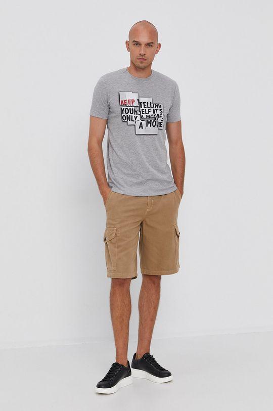 Sisley - T-shirt bawełniany szary