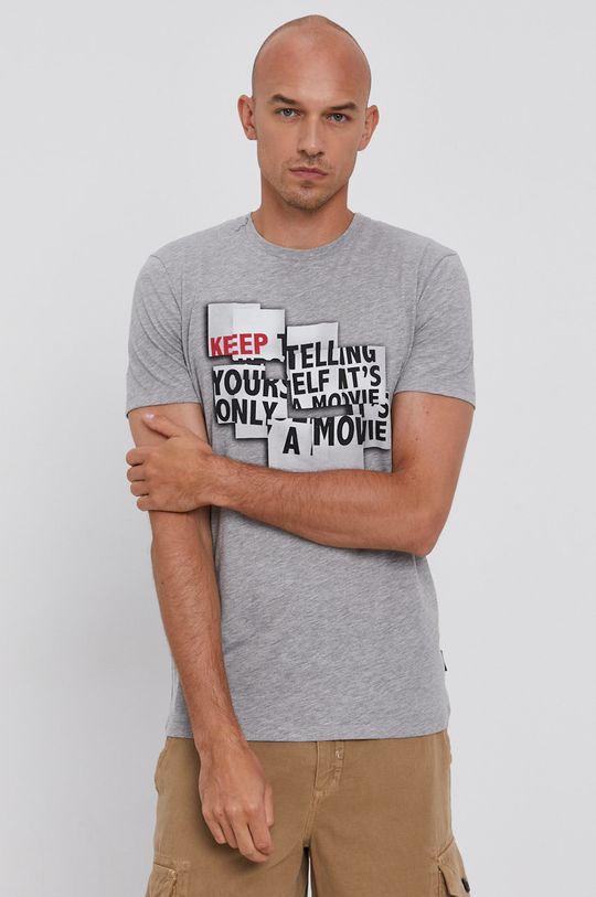 szary Sisley - T-shirt bawełniany