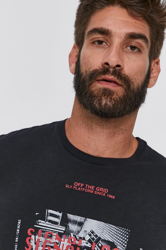 czarny Sisley - T-shirt bawełniany