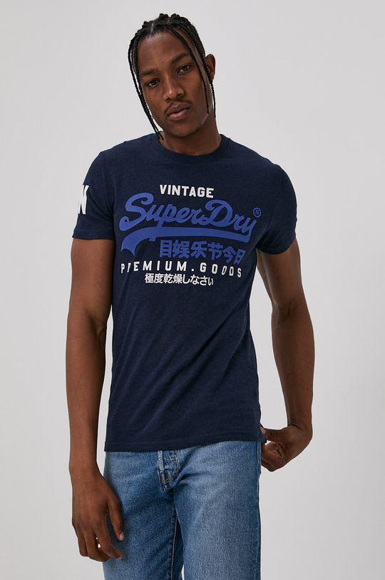 granatowy Superdry - T-shirt Męski