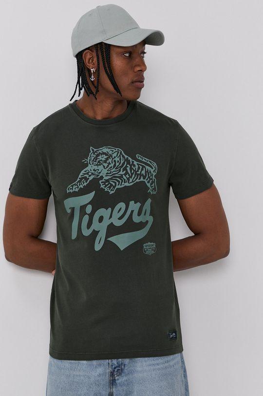tmavozelená Superdry - Bavlnené tričko Pánsky