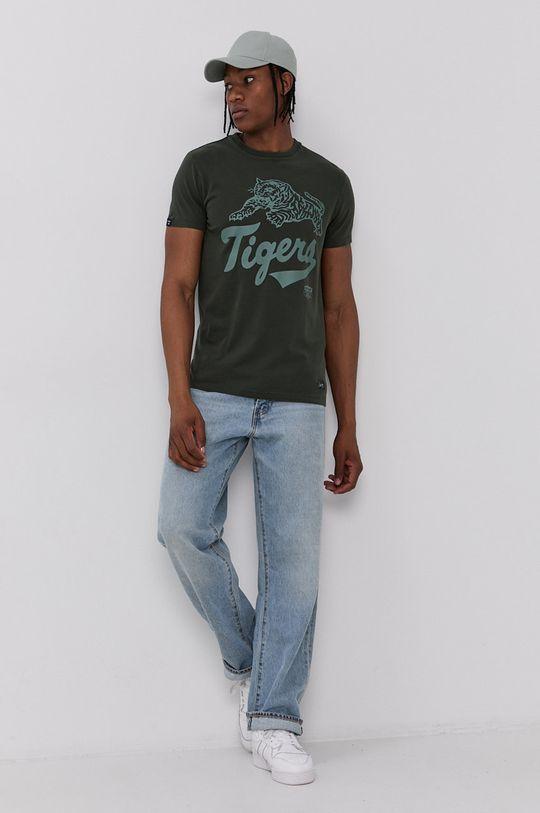 Superdry - Bavlnené tričko tmavozelená