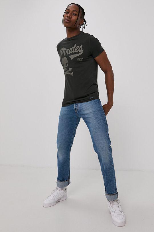 Superdry - Bavlněné tričko šedá