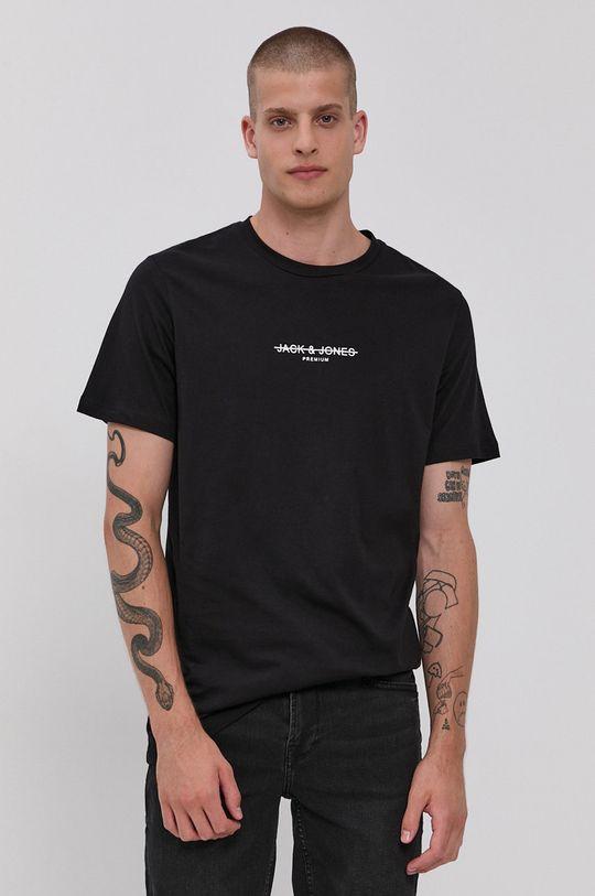 černá Premium by Jack&Jones - Bavlněné tričko Pánský