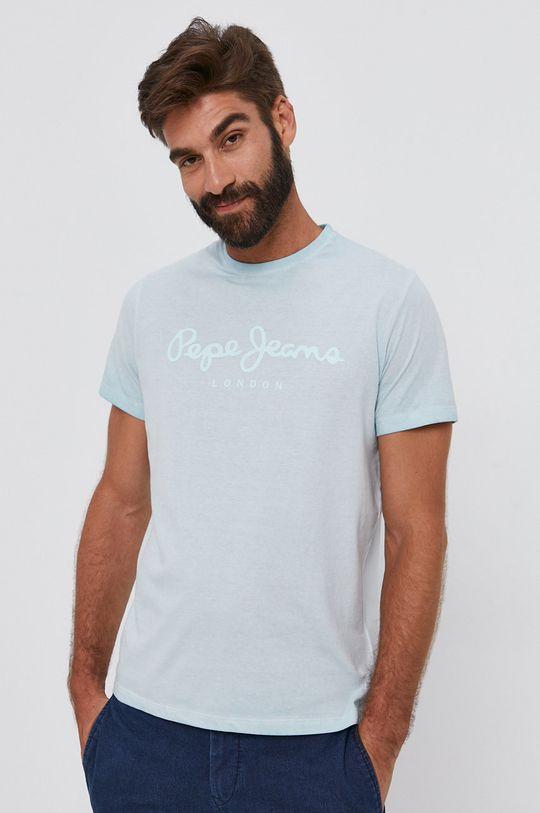 svetlá tyrkysová Pepe Jeans - Bavlnené tričko West Sir Pánsky
