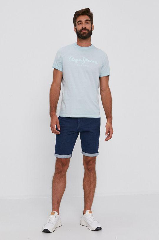 Pepe Jeans - Bavlnené tričko West Sir svetlá tyrkysová