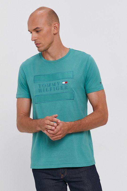 zielony Tommy Hilfiger - T-shirt bawełniany Męski