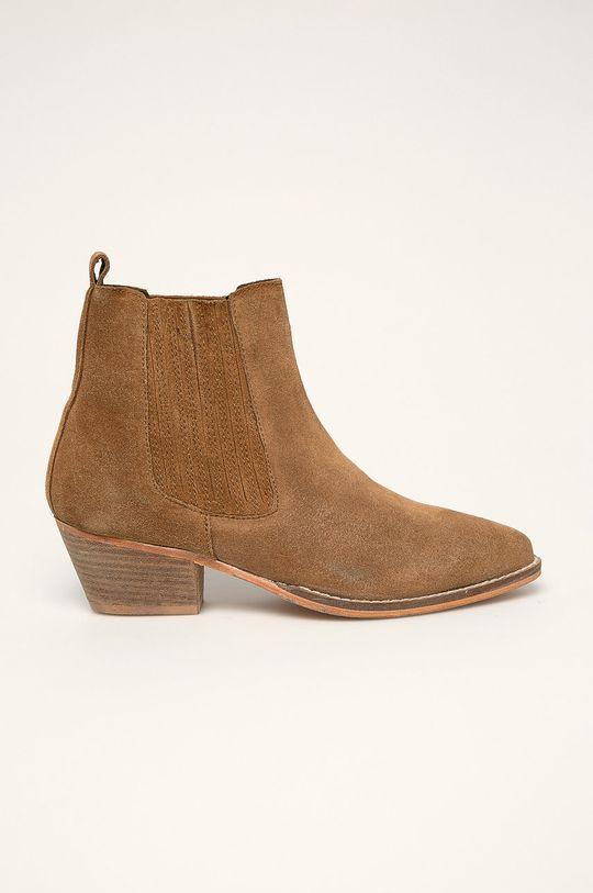 hnedá Answear - Kožené členkové topánky Dámsky