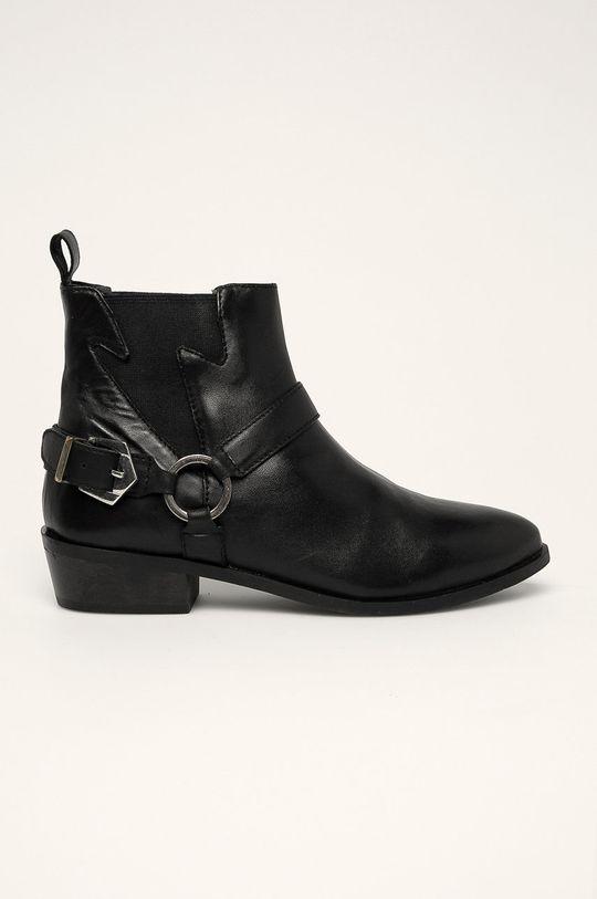 černá Answear - Nízké kožené kozačky Dámský