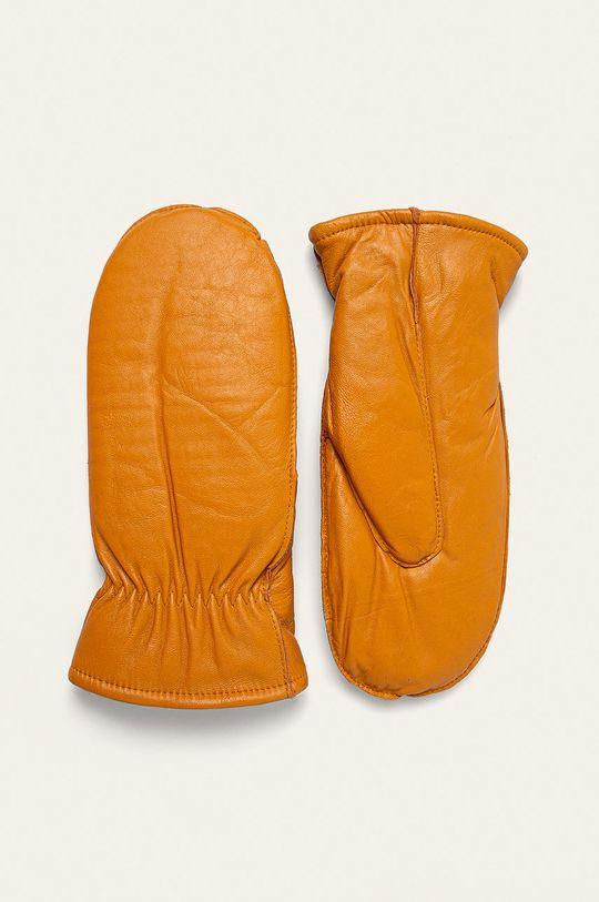 żółty Answear Lab - Rękawiczki skórzane Damski