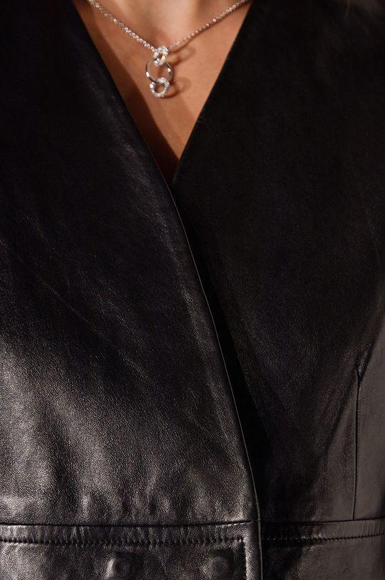 čierna Answear Lab - Kožené sako