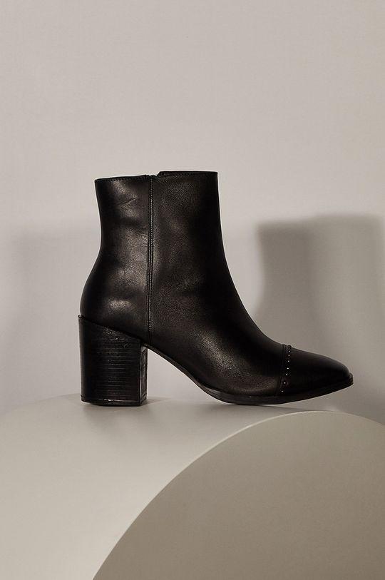 čierna Answear - Kožené členkové topánky Answeara Lab Dámsky