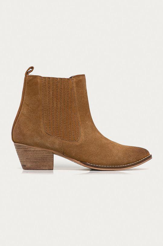 béžová Answear Lab - Semišové kovbojské topánky Dámsky