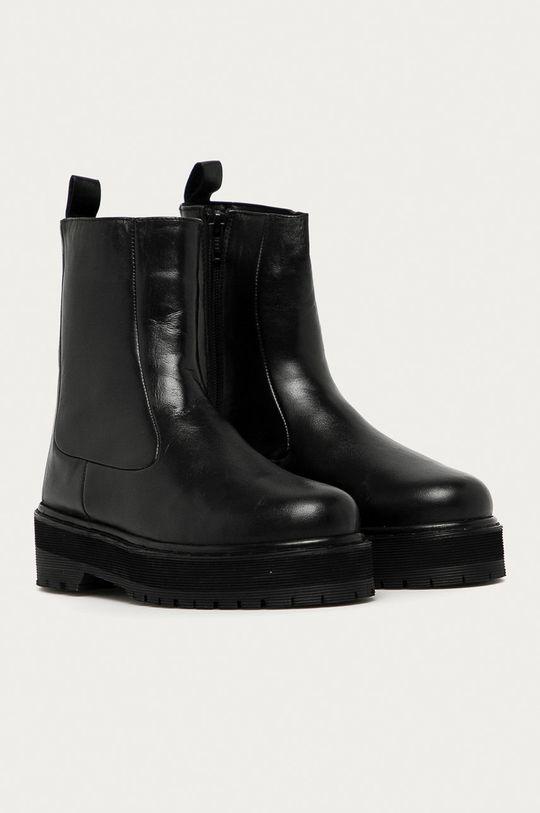 Answear Lab - Bőr csizma fekete