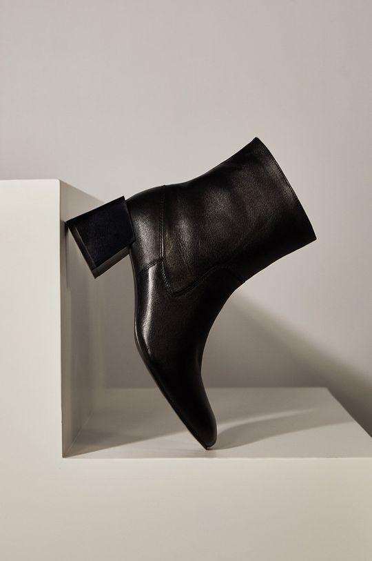 čierna Answear.LAB limitovaná kolekcia - Kožené členkové topánky Dámsky