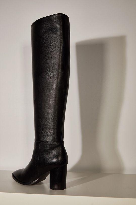 čierna Answear.LAB limitovaná kolekcia - Kožené čižmy