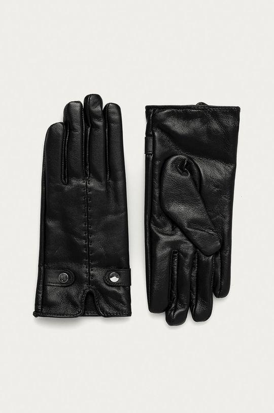 čierna Answear Lab - Kožené rukavice Dámsky