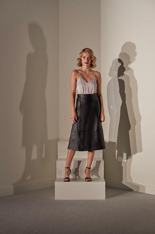 Answear.LAB limitovaná kolekcia - Kožená sukňa čierna