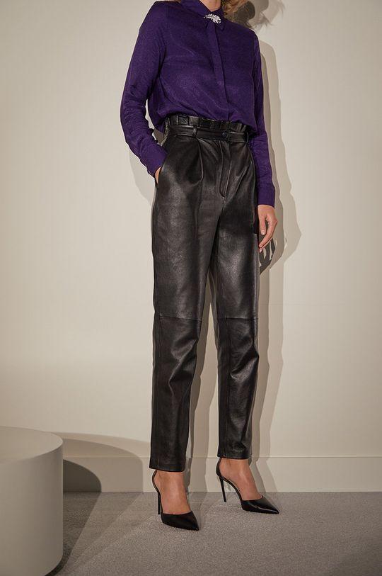 čierna Answear.LAB limitovaná kolekcia - Kožené nohavice Dámsky