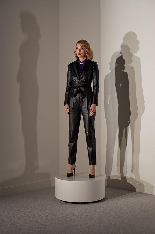 Answear.LAB limitovaná kolekce - Kožené kalhoty černá