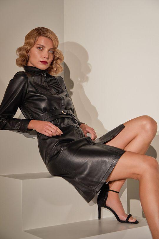 черен Answear.LAB Лимитирана колекция - Кожена рокля Жіночий