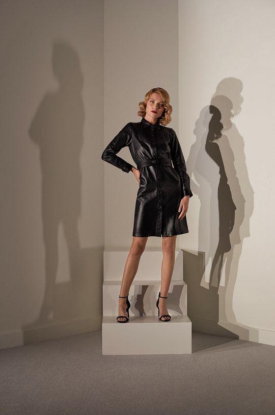 Answear.LAB limitovaná kolekce - Kožené šaty černá