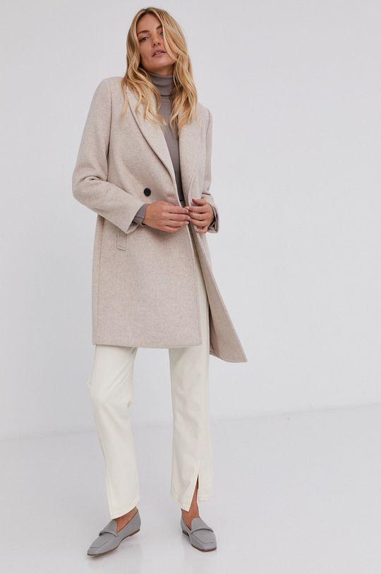 Answear Lab - Płaszcz wełniany beżowy