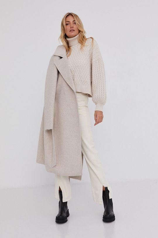 beżowy Answear Lab - Płaszcz wełniany