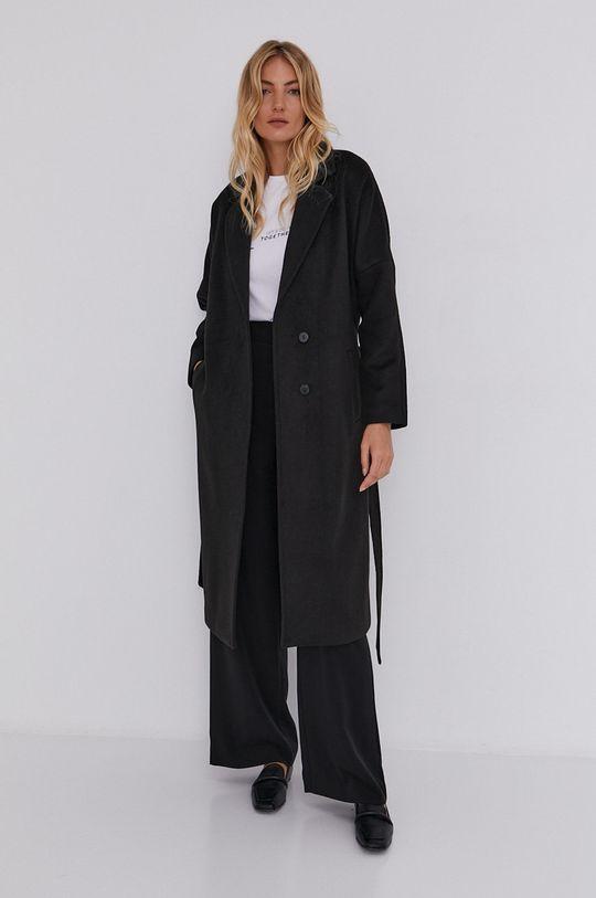 czarny Answear Lab - Płaszcz wełniany