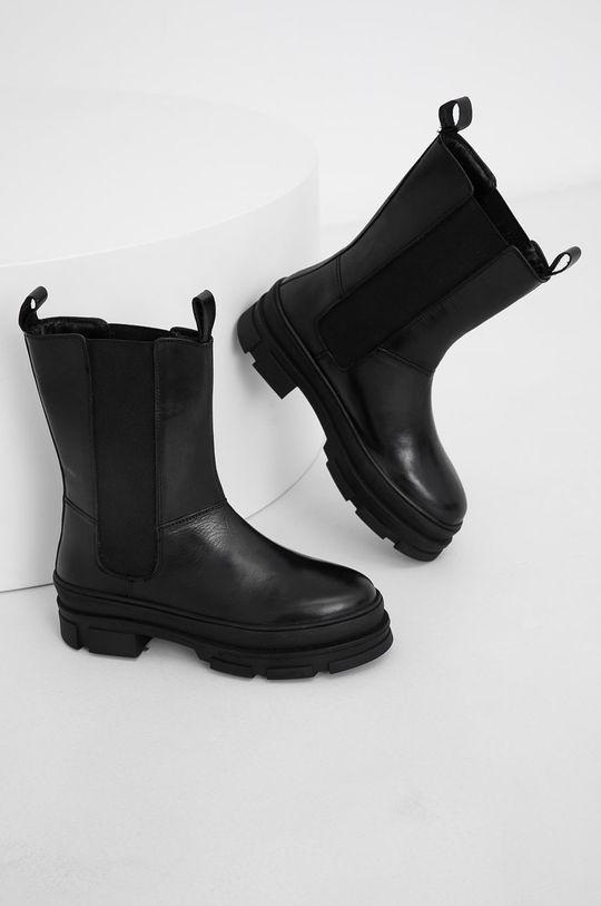 Answear Lab - Kožené topánky Chelsea čierna