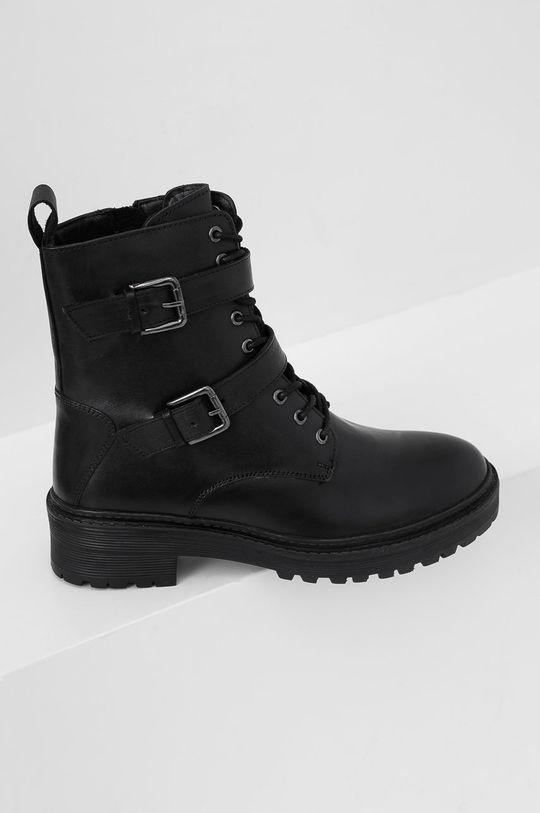 čierna Answear Lab - Kožené členkové topánky Dámsky