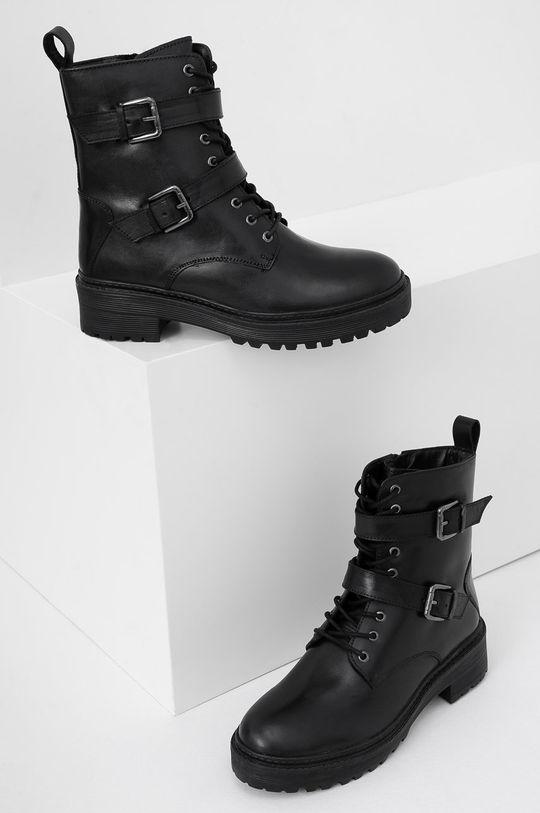 Answear Lab - Kožené členkové topánky čierna