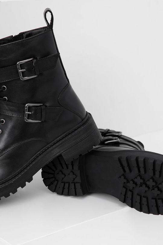 čierna Answear Lab - Kožené členkové topánky