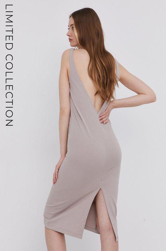 béžová answear.LAB Šaty s certifikátem OEKO limitovaná kolekce Ethical Wardrobe Dámský