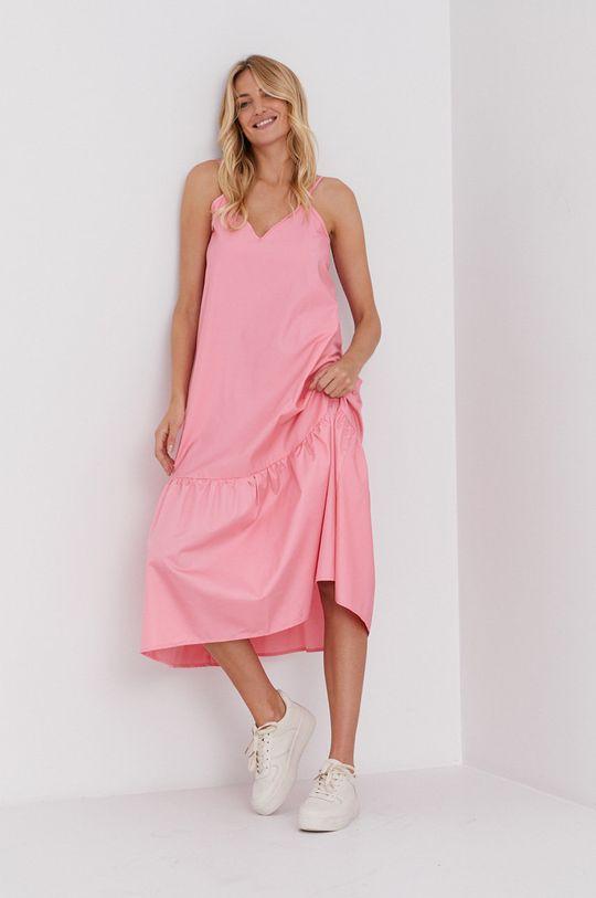 ostrá růžová Answear Lab - Šaty Dámský