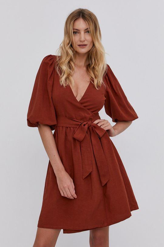 brązowy Answear Lab - Sukienka Damski