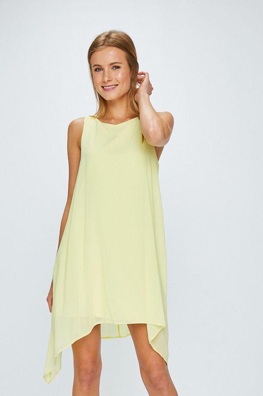 žltá Answear - Šaty Stripes Vibes Dámsky