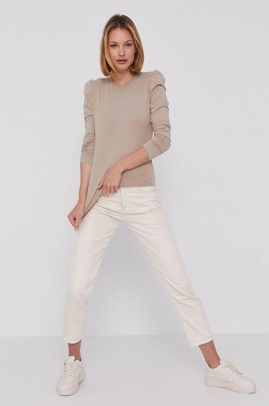 Answear Lab - Tričko s dlouhým rukávem béžová