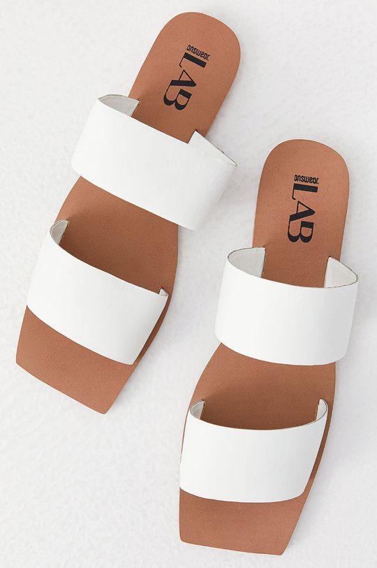Answear Lab - Kožené pantofle z narozeninové kolekce bílá