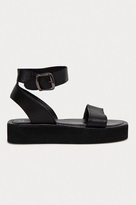 černá Answear Lab - Kožené sandály Dámský