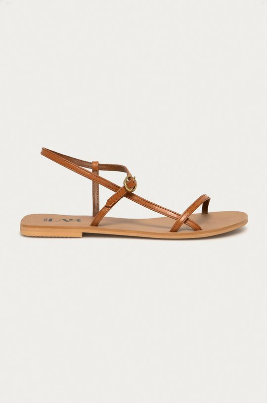 hnědá Answear Lab - Kožené sandály Dámský
