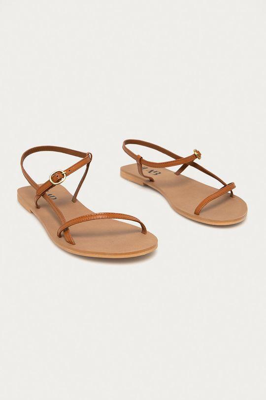 Answear Lab - Kožené sandály hnědá