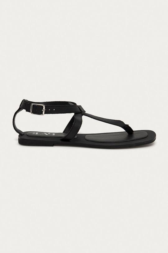 černá Answear Lab - Kožené sandály z narozeninové kolekce Dámský
