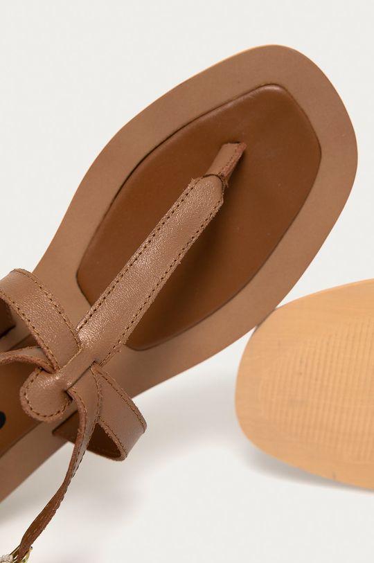 hnědá Answear Lab - Kožené sandály