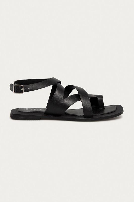 čierna Answear Lab - Kožené sandále Dámsky