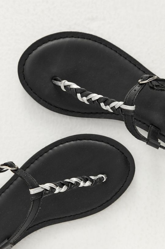 černá Answear Lab - Kožené sandály