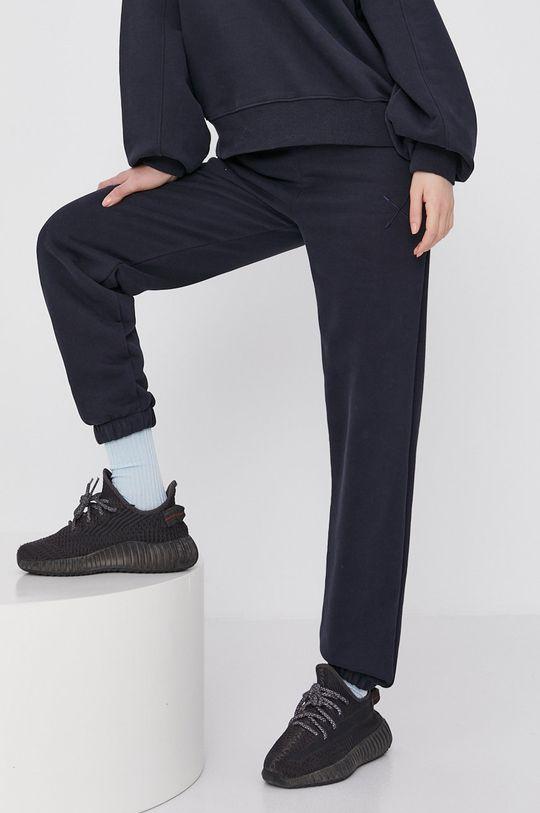granatowy Answear Lab - Spodnie Natural Flow Damski