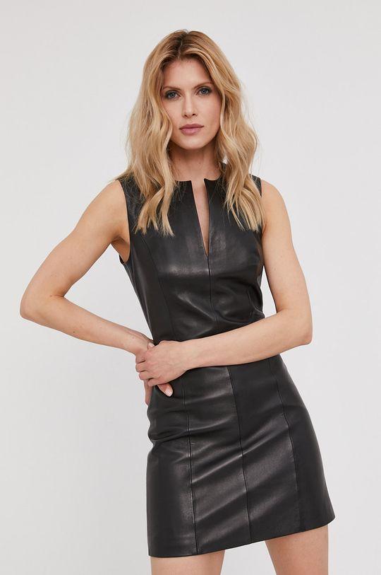 čierna Answear Lab - Kožené šaty z narodeninovej kolekcie