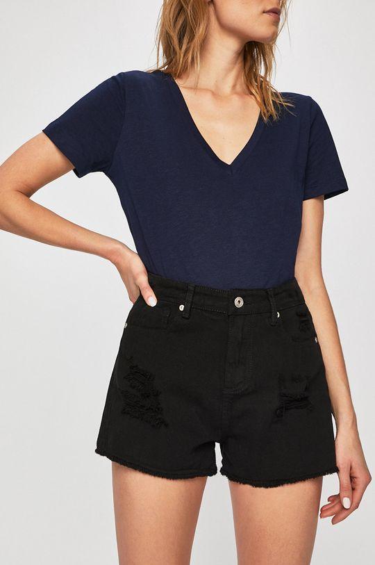 čierna Answear - Rifľové krátke nohavice Dámsky